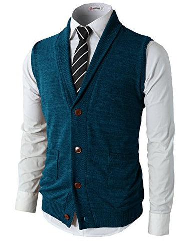 H2H Men's Casual Basic Shawl Collar Knitted Slim Fit Vest GREEN US M/Asia L (CMOV034)
