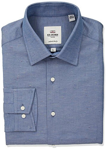 "Ben Sherman Men's Slub Chambray Soho Spread Skinny Fit Dress Shirt, Blue, 16.5"" Neck 34""-35"" Sleeve"