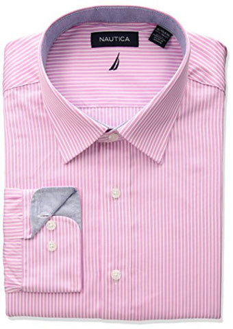"Nautica Men's Classic Fit Performance Striped Spread Collar Dress Shirt, Pink, 14.5"" Neck 32""-33"" Sleeve"
