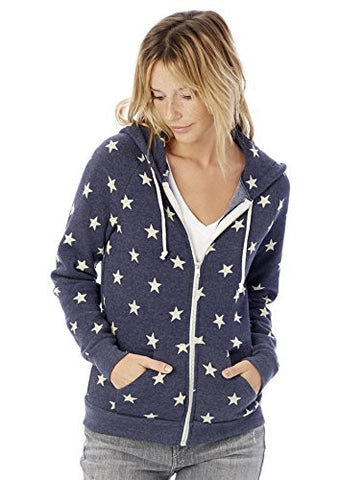 Alternative Women's Printed Adrian Fleece Zip-Front Hoodie, Stars, Medium