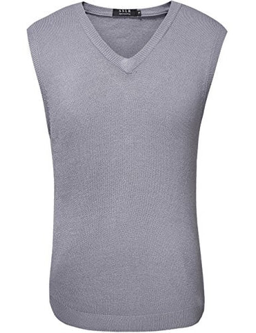 SSLR Men's Regular Fit V Neck Casual Sweater Vest (Large, Grey)