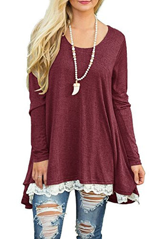 QIXING Women's Lace Long Sleeve Tunic Top Blouse Wine Red-L