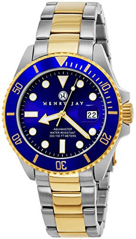 "Henry Jay Mens 23K Gold Plated Two Tone Stainless Steel ""Specialty Aquamaster"" Professional Dive Watch with Date (Great Father's Day Gift)"