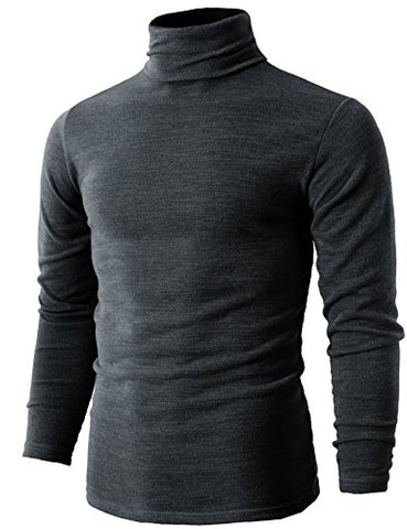 H2H Mens Plus Size Basic Knitted Turtleneck Pullover Sweater GRAY US M/Asia XL (KMTTL028)