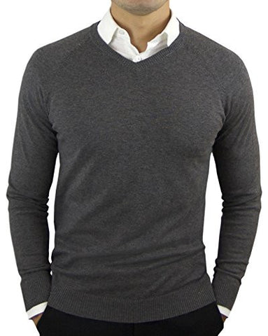 Comfortably Collared Men's Perfect Slim Fit V-Neck Sweater Large Charcoal