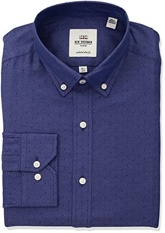 "Ben Sherman Men's Oxford Dobby Bd Fit Dress Shirt, Blue, 17"" Neck 36""-37"" Sleeve"