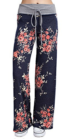 Marilyn & Main Women's Comfy Soft Stretch Floral Polka Dot Pajama Pants,Large,Navy Bouquet