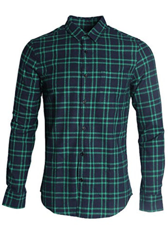 NUTEXROL Mens Long Sleeve Plaid Flannel Casual Shirts Checked Button Down Shirts B-Green XX-Large