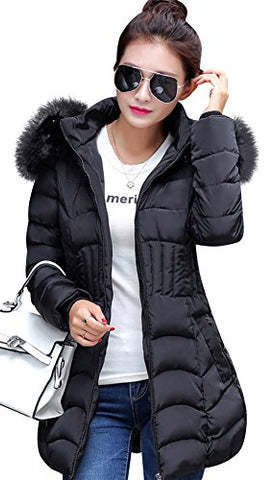 Mojessy Women's Parka Winter Coat Overcoat Long Down Jacket Outwear X-Large Black