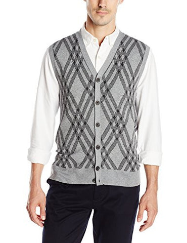 Haggar Men's Exploded Argyle Button Front Sweater Vest, Light Grey, Large