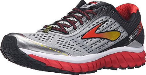 Brooks Men's Ghost 9 Alloy/High Risk Red/Black Sneaker 10.5 D (M)