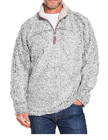 True Grit Men's Frosty Tipped Pile 1/4 Zip Pullover, Heather, XL