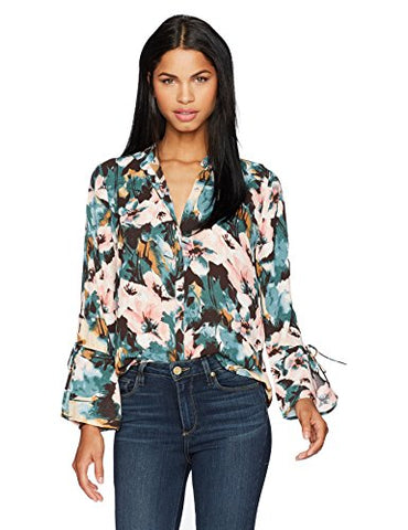 Lucky Brand Women's Printed Tie Sleeve Blouse, Multi, XS