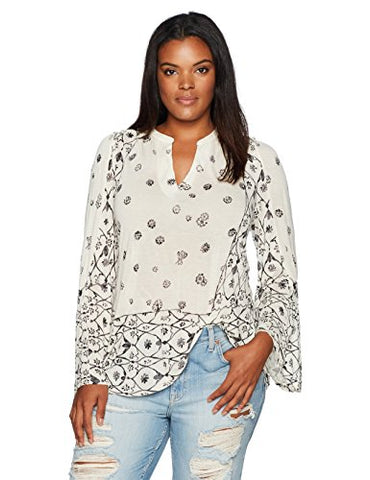 Lucky Brand Women's Plus Size Mix Geo Peasant Top, Natural Multi, 1X