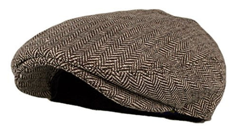 Men's Classic Herringbone Tweed Wool Blend Newsboy Ivy Hat (Brown, SM)