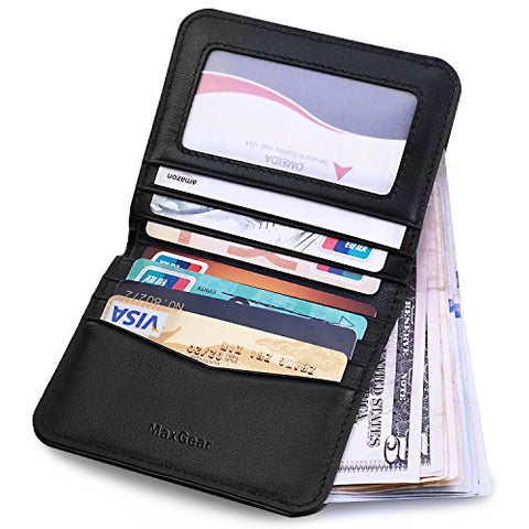 MaxGear Leather Bifold Wallets Credit Card Holder Money Cash Wallet with ID Window Credit Card Organizer Bifold Wallet Leather Bifold Pocket Purpse