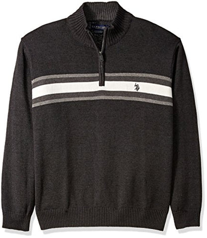 U.S. Polo Assn. Men's Tri-Color Chest Stripe 1/4 Zip Sweater, Charcoal Heather, XX-Large