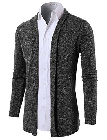 H2H Mens Shawl Collar Cardigan without Buttons CHARCOAL US S/Asia M (KMOCAL099)