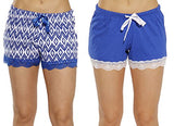 6334-10100-M Just Love Womans Pajamas Shorts - PJs - Sleepwear (Pack of 2),Navy - Ikat Chevron (Pack of 2),Medium