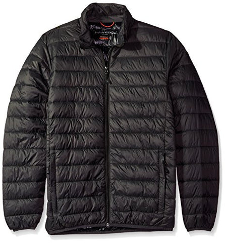 Hawke & Co Men's Poly Packable Puffer Jacket, Carbon/Black, M