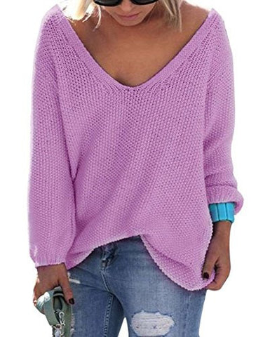 Womens Autumn Casual V Neck Loose Knit Sweater Wrap Pullover Purple L