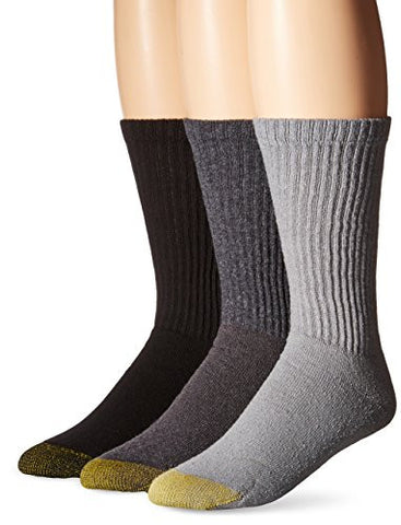 Gold Toe Men's Cotton Crew Athletic Sock 6-Pack,Light Grey/Charcoal,10-13 (shoe size6-12.5 )