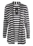 My Wardrobe Women's Shawl Collar Thick Striped Open Front Cardigan Sweater, Black, Asian XL(US L)