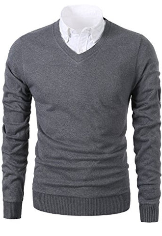 Mesahara Mens Slim Fit Light Weight V-Neck Pullover Sweater