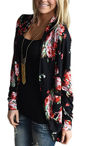 ECOWISH Womens Boho Irregular Long Sleeve Wrap Kimono Cardigans Casual Coverup Coat Tops Outwear S-3XL,Black,Small