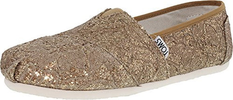 TOMS Women's Lace Classics Rose Gold Lace Glitz Loafer