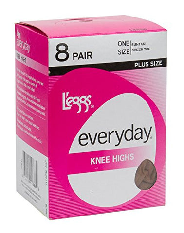 L'eggs Women's Plus-Size Everyday Knee High Sheer Toe Panty Hose (Pack Of 8), Off Black, One Size