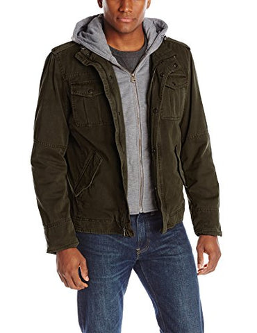 Levi's Men's Four-Pocket Hooded Jacket,Olive,Large