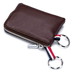 imeetu Mens Leather Coin Purse Wallet, Mini Dual Keyrings Change Pouch Card Holder(Coffee)