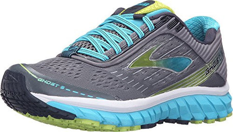 Brooks Women's Ghost 9 Silver/Blue Atoll/Lime Punch Running shoes - 7.5 B(M) US