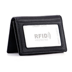 HAWEE Men's Bifold Front Pocket Wallet Genuine Leather RFID Blocking Card Billfold 5 Slots with Cash Clip, Black