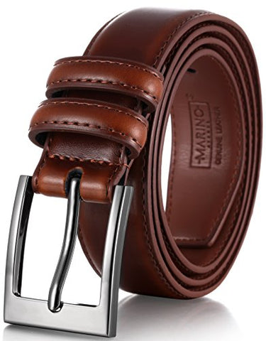 Marino's Men Genuine Leather Dress Belt with Single Prong Buckle - Burnt Umber - 34