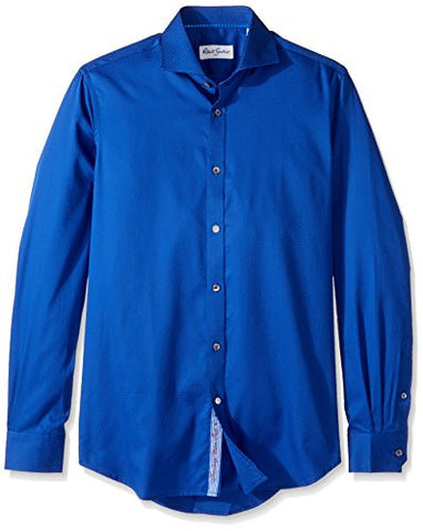 "Robert Graham Men's Classic Fit Satin Check Dress Shirt, Royal, 18"" Neck 36.5"" Sleeve"