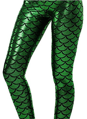Alaroo Shiny Fish Scale Mermaid Leggings for Women Pants Green M