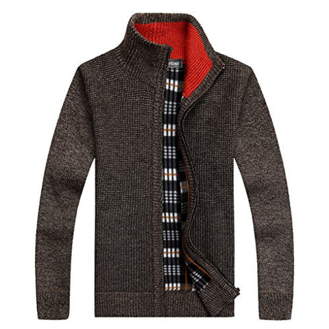 Shengweiao Men's Zip Knitted Cardigan Sweater (X-Large, Brown)