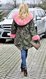 Roiii Women Militray Outdoor Parka Hoodie Fur Lining Jacket Coat Winter Overcoat (XXX-Large, Army Green With Pink Fur)