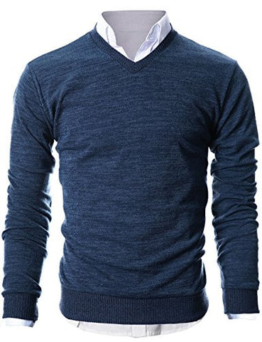 Ohoo Mens Slim Fit Light Weight V-Neck Pullover Sweater/DCP015-NAVY-M