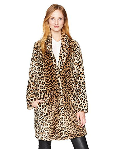 Calvin Klein Women's Long Sleeve Leopard Fur Coat, Black/Vicuna, M