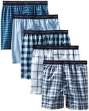 Hanes Men's 5-Pack FreshIQ Tagless, Tartan Boxer with Exposed Waistband, Assorted, Large