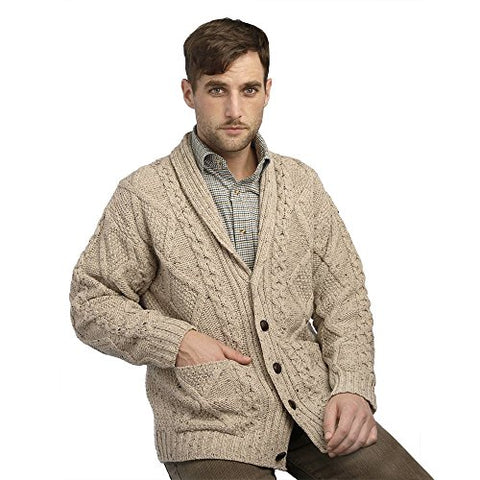 100% Irish Merino Wool Aran Button Cardigan, Oatmeal, Large