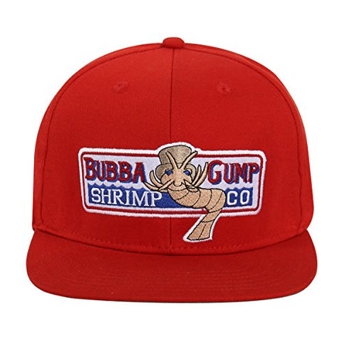 Adjustable Bubba Gump Baseball Cap Shrimp Co. Embroidered Hat (Red) (Flat brimmed)