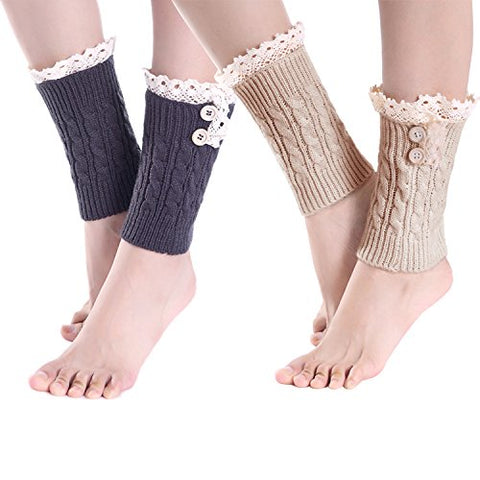 2 Pack of Womens Lace Stretch Boot Leg Cuffs Leg Warmers Socks Topper Cuff