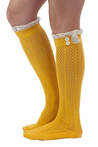 The Original Button Boot Socks with Lace Trim Boutique Socks by Modern Boho Mustard One Size