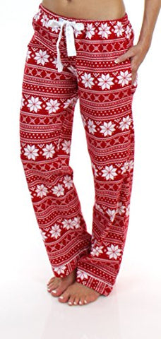 PajamaMania Women's Sleepwear Flannel Pajama PJ Pants, Red Snowflake (PMF1001-2010-SML)