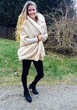 SweatyRocks Women Khaki Hooded Dolman Sleeve Faux Fur Cardigan Coat for Winter (One Size, Apricot)