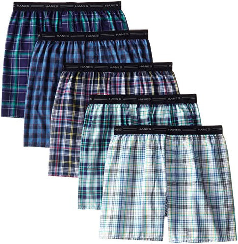 Hanes Men's 5-Pack Woven Exposed Waistband Boxers, Fashion Plaid, Large
